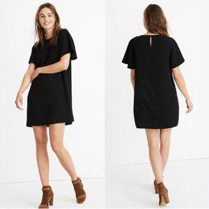 NWT Madewell black crepe flutter sleeve mini dress